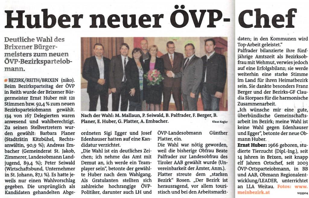 Huber neuer ÖVP-Chef
