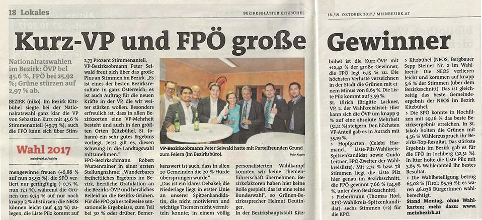 Kurz-VP und FPÖ große Gewinner