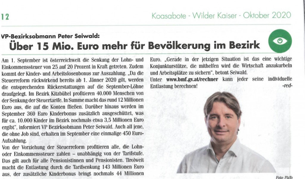 Über 15 Mio. Euro mehr für Bevölkerung im Bezirk