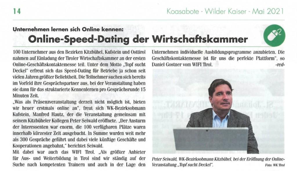 Online-Speed-Dating der Wirtschaftskammer