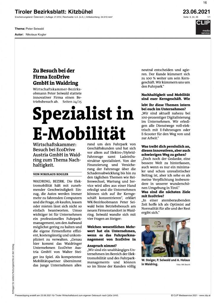 06_2021_Bezirksblaetter_Kitzbuehel_Spezialist_in_E-Mobilitaet