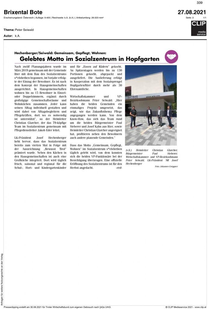 08_2021_brixentaler_bote_gelebtes Motto im Sozialzentrum in hopfgarten
