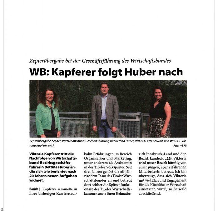 WB: Kapferer folgt Huber nach