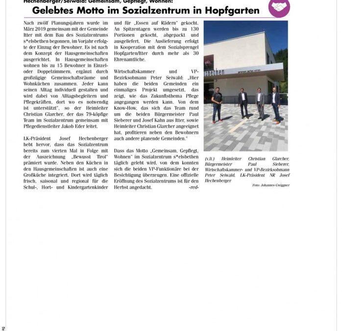Gelebtes Motto im Sozialzentrum in Hopfgarten