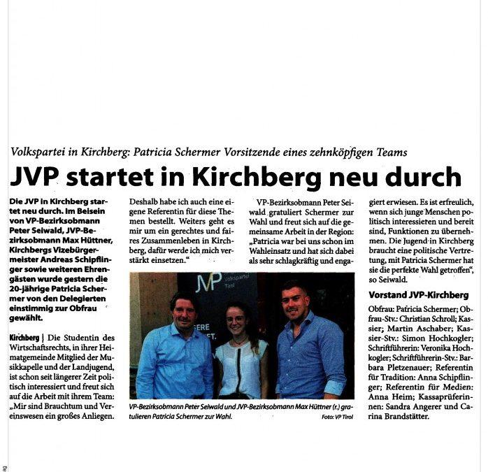 JVP startet in Kirchberg neu durch