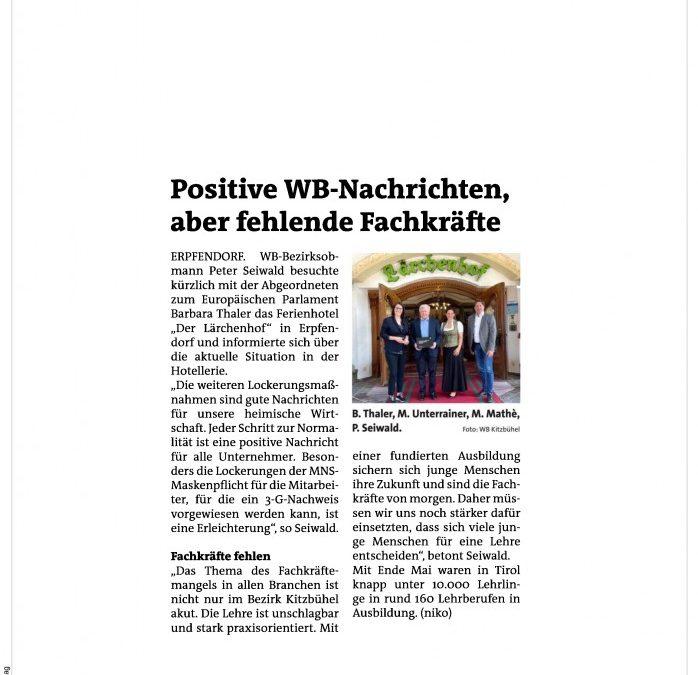 Positive WB-Nachrichten aber fehlende Fachkräfte