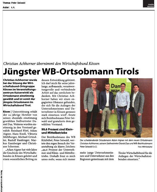 Jüngster WB-Ortsobmann Tirols
