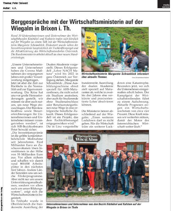 Berggespräche mit der Wirtschaftsministerin auf der Wiegalm in Brixen i. Th.