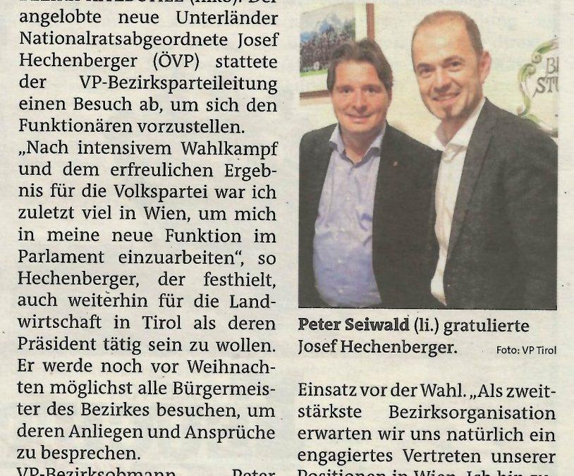 NR Josef Hechenberger besuchte die Bezirks-ÖVP