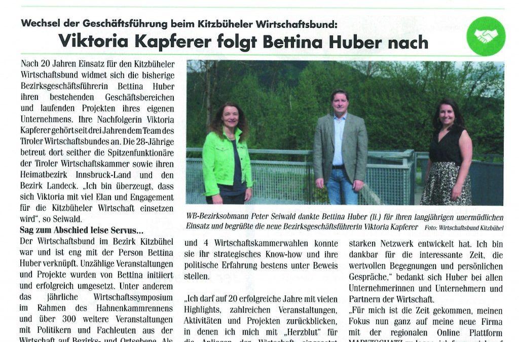 Viktoria Kapferer folgt Bettina Huber nach