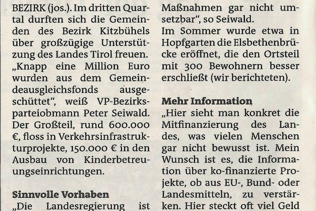 Knapp eine Million Euro vom Land für den Bezirk